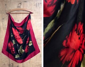 Silk Printed Scarf. Red & Black. A Darling Dahlia Square Scarf