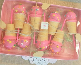 Mini ice cream cone cake pops