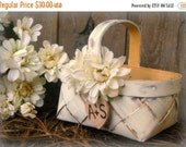 Wedding Sale Flower Girl Basket Rustic Wedding Decor Shabby Chic Personalized (YOU CHOOSE COLOR)
