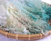 Hand Dyed British Teeswater Wool locks 52gms for Waldorf Dolls, Art Dolls, Blythe Dolls, Spinning and Felt Making 'Ice Melt' colorway