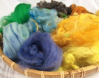 Dyed British Rare Breed Mixed Wools for Blending. 71gms. Spinning & Felting supply. Merino, Shetland, Teeswater. 'Sunflower Fields' Colorway