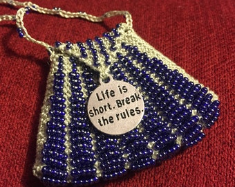 Life is Short Hand Knit Beaded Amulet Bag