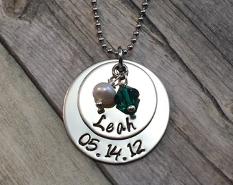 Personalized mothers necklace hand stamped stainless steel