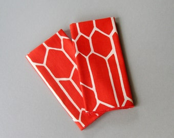 Two Vintage Vera Linen Napkins - Red / White Honeycomb