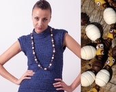 African trade beads, coconut beads and wood beads necklace | woodland jewelry