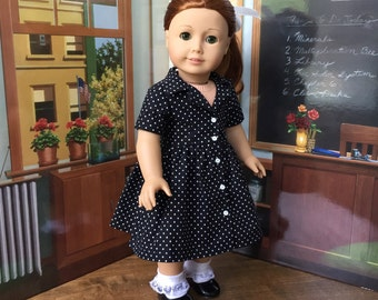 1950s Shirtwaist Dress in Black and White Polka Dots for Maryellen or 18 inch Doll