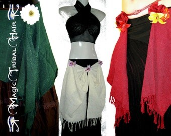Tribal Fusion BELLYDANCE FANTASY Cotton hip scarf & wrap SKIRT red cream green Larp costume accessory Renfair elf fairy gipsy wicca woodland