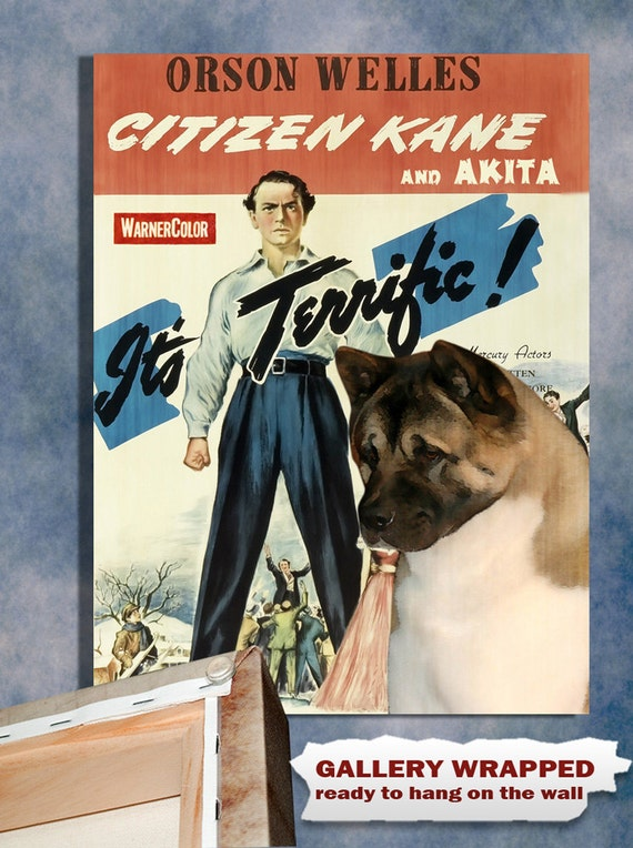 American Akita Vintage Movie Style Poster Canvas Print  - Citizen Kane NEW COLLECTION by Nobility Dogs