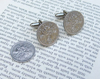 Lucky Sixpence Cuff links. Wooden Gift Boxed Handmade Cufflinks For Extra Luck....