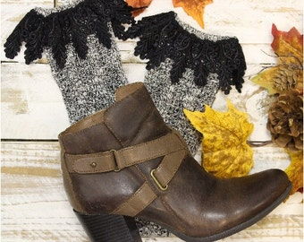 BOOT BLISS charcoal tweed short boot Socks | lace boot socks, slouch,women, winter, cowboy, combat, ladies, handmade, lace socks | SLXC2L