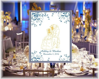 Blue And Gold Beauty And The Beast Wedding Guest Book Alternative - Rustic Wedding Sign - Wedding Sign - Ready to Hang - lovebirdslane