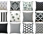Black Throw Pillows, Black Pillow Cover, Zippered Pillow, Pillow Case, Cushion Cover, Classic Home Accents, Black and White, Couch Pillows