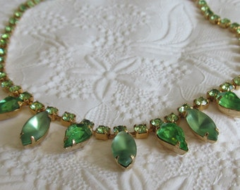 Vintage Green Rhinestone and Frosted Glass Drop Necklace ~ St Pattys Day