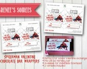 Printable SPIDERMAN VALENTINES - Chocolate Candy Bar Wrappers - Perfect for Classroom Friendship Parties