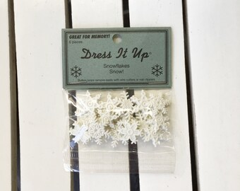 Snowflakes embellishments, white, 6 pcs. per pkg, for scrapbooking, card making, paper crafting for winter, trinkets, art journaling