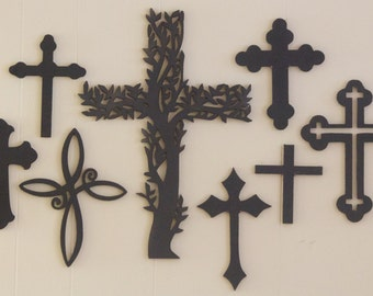 Wooden Crosses, Wall Decor (Collection of 8) Unpainted, Various Sizes, Ready to be Decorated!