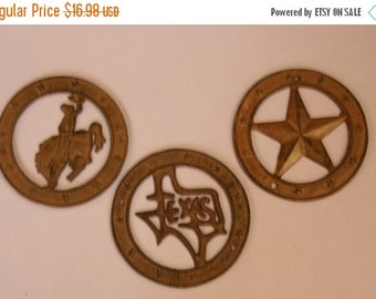 12% OFF Set Of 3 Cast Iron Deco Circles, Unfinished and Ready to Paint, Western Theme