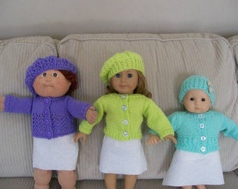 27) Knit Cardigan Sweaters with a Lace Pattern and matching Hat for ANY 15 or 18 Inch Dolls  American Girl Cabbage Patch Bitty Baby Gotz etc