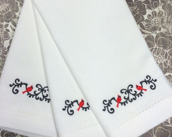 Wrought Iron Cardinal Christmas Embroidered Cloth Napkins, set of 4, Christmas napkins, cloth Christmas napkins, cardinal napkins, holiday