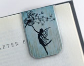 Laminated Magnetic Bookmark Fairy Dandelion Woodland Creature Fantasy Teal Blue Gold Tan Teacher Gift Christmas Valentines Student College