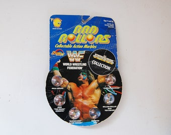 Wrestling Toys, World Wrestling Federation, Rad Rollers Marbles, Hulk Hogan, Randy Savage, Set of 6 Collectible 90's WWF Marbles