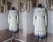 Vintage 1970's 80's White and Blue Floral Print Sheer Dress Medium