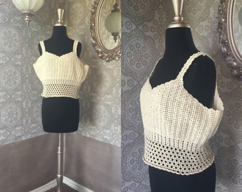 Women's Vintage 1970's Crochet Crop Top Medium XL / XXL