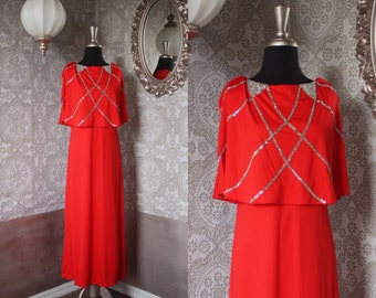 Vintage 1970's Designer Mr. Blackwell Red Gown with Rhinestone Collar M/L
