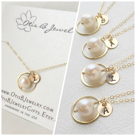 Personalized Bridesmaid Set of FOUR Gold Necklaces with initials, Pearl necklaces, bridesmaid gift, personalized bridal jewelry, gift set