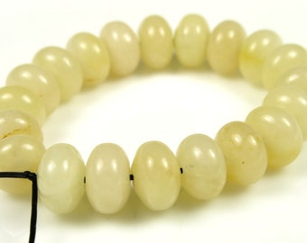 Translucent Milky Pale Yellow Jade Smooth Rondelle Bead - 8mm x 5mm - 20 beads - B5744