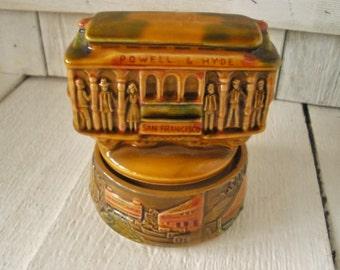 Vintage musical cable car souvenir San Francisco ceramic 1950s