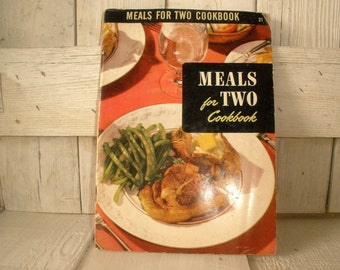 Vintage book Meals for Two Cookbook retro photos illustrations 1953