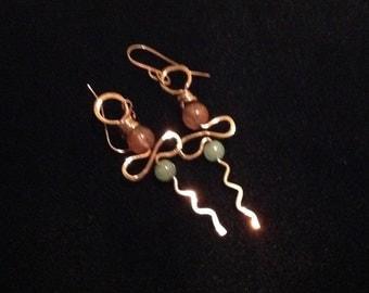 copper jade cherry quartz earrings