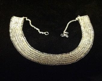 sterling silver statement  bib hand crochet necklace