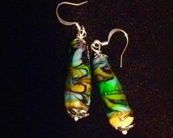 Tear Drop shaped blown glass blue green earrings with silver findings