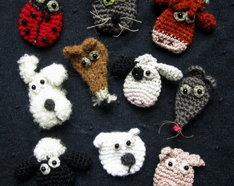 SET of 4 Crochet Patterns for Silly Animal Brooches - You Choose!