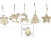 Christmas Natural Wood Shapes Set of 8