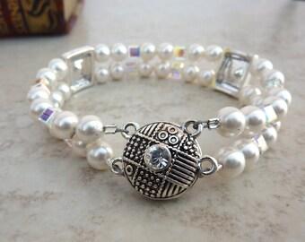 Lovely Swarovski Crystal Pearl Bracelet, Double Strand Pearl Bracelet, Swarovski Accented Bracelet, Bridal Bracelet, Wedding Jewelry