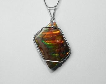 Ammolite Pendant in Silver, 23 x 18 mm