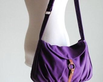 Back To School SALE 30% - Fortuner-S in Purple / Centre Zipper Pocket / Purse/ Laptop/ Shoulder /Messenger Bag / Handbag/Diaper Bag/ School