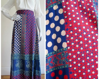 Hand Blocked Indian Cotton Polka Dot & Peacock Print Bohemian Festival Maxi Skirt