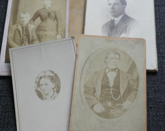 5 x antique cabinet photographs