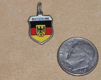 Vintage Signed 800 Silver On Enamel Travel Shield Deutschland Charm Or Pendant 1960's Jewelry 7076