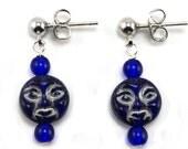 Blue Glass Face Nickel Free Stud Earrings