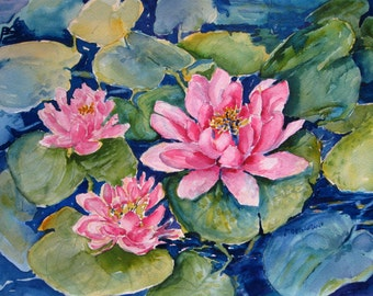 Watercolor Painting Water Lilies  Art Print from original art 8 x 10 Floral Carlottasart