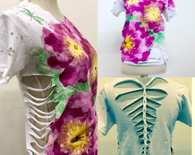 Women's t-shirt, Handpainted Shirt, Flower Weave Shirt, One Of A Kind Shirt by Custom Paintworkz and HAS Jewels
