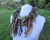 Woodland Loop Scarf Cowl Autumn Circular Cosy Neck Warmer Felted Warm Winter Natural Wool Wrap Infinity Scarf Lariat Upcycled Necklace Snood