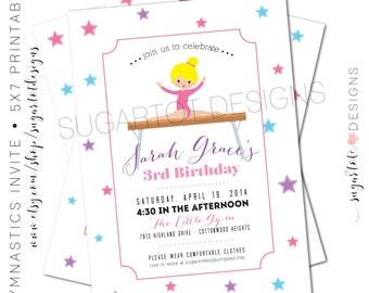 Gymnastics Party Invitation - Girls Tumbling Birthday Party Invitation - 5x7 Custom Printable