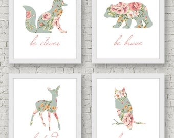 Be Brave, Be Kind, Be Clever, Be Wise Art Print - Set of 4 Prints - Woodland Nursery, Shabby Chic, Floral Animal, Wall Art, Baby Girl Room