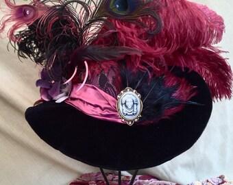 Gothic Victorian / Penny Dreadful /Steampunk women's large Brim hat Madame Leota w/ matching hat pin